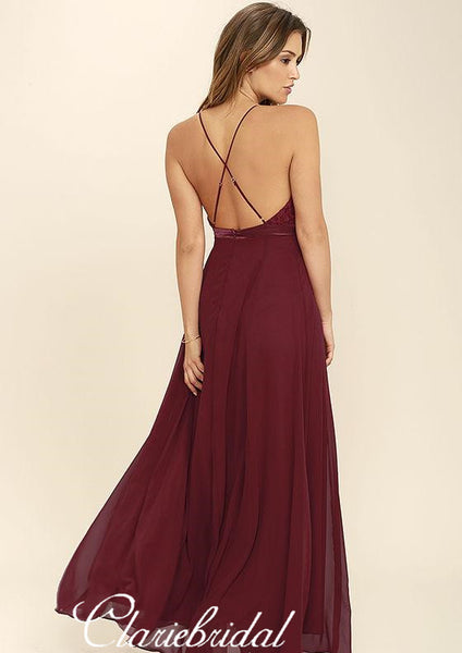 Spaghetti Long A-line Burgundy Lace Chiffon Bridesmaid Dresses