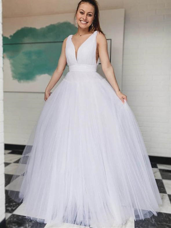 V-neck Simple Tulle Wedding Dresses, Long Wedding Dresses, Bridal Gown, 2020 Wedding Dresses