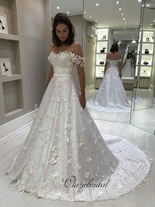 Elegant A-line Appliques Wedding Dresses, Off Shoulder Lace Fashion Wedding Dresses