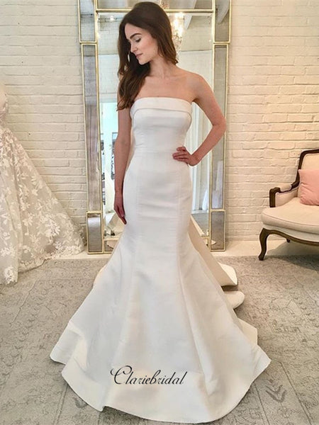 Strapless Satin Bow Wedding Dresses, Elegant Mermaid Bridal Wedding Dresses