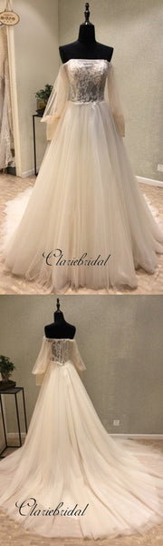 Elegant Off the Shoulder Long Sleeves Charming Long Wedding Dresses