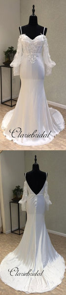 Long Sleeves Cheap Spaghetti Strap Mermaid Sexy Backless Wedding Dresses