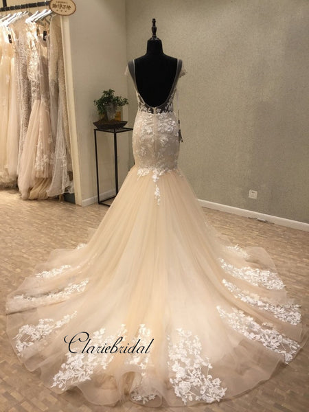 Cap Sleeves Mermaid Backless Sexy Lace Long Wedding Dresses