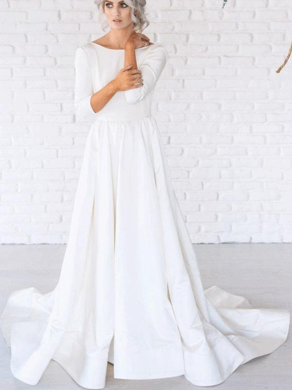 Long Sleeves Jersey Simple Design Wedding Dresses