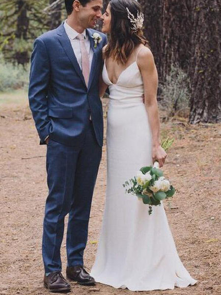Simple Long Sheath Country Wedding Dresses, Affordable Bridal Gown