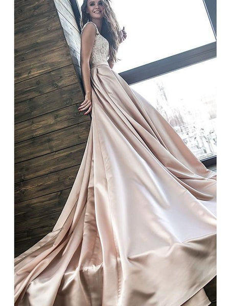 Lace Top Long Off Shoulder A-line Satin Wedding Dresses