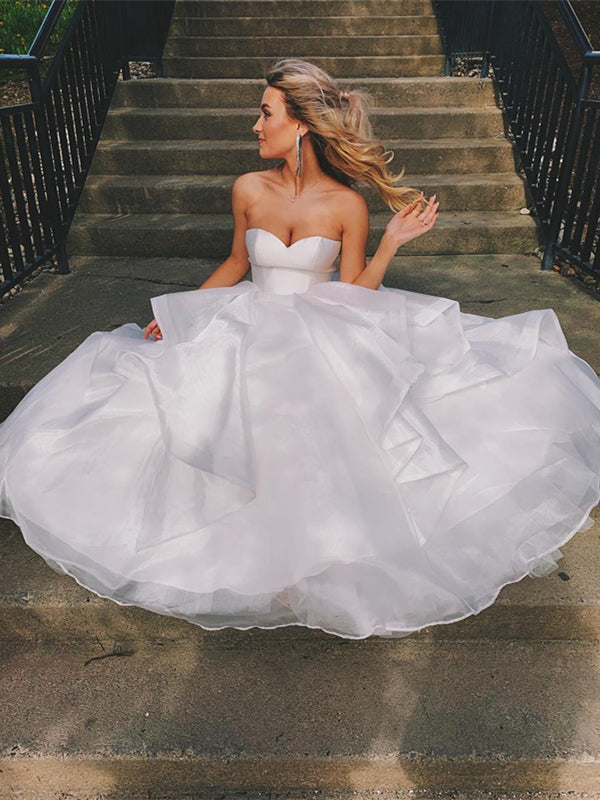 Sweetheart Romantic Organza Wedding Dresses, Bridal Gown