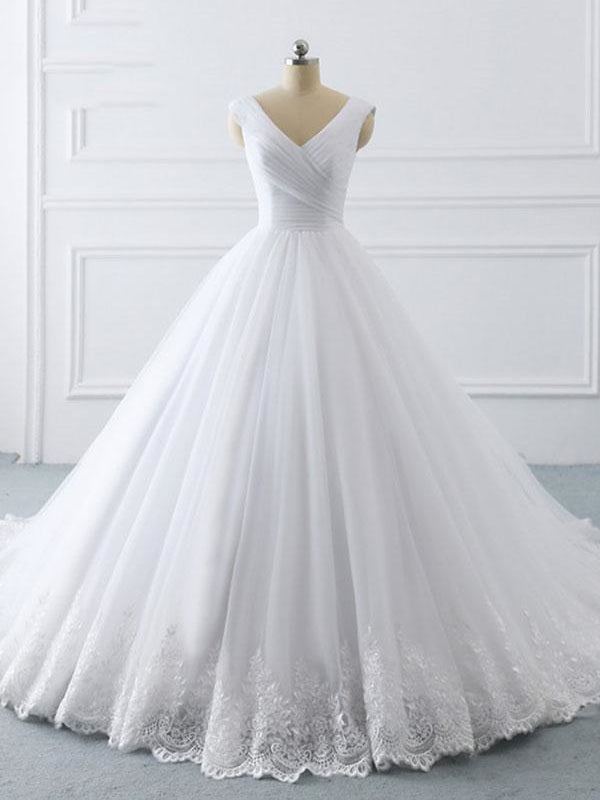 V-neck A-line White Tulle Lace Wedding Dresses, Bridal Gown