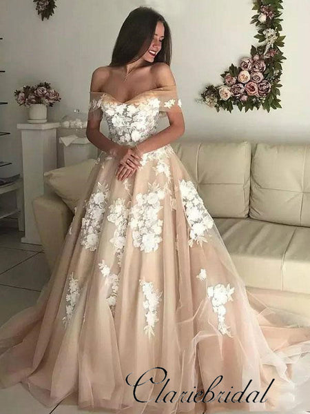 Off Shoulder Champagne Tulle Lace Prom Dresses, Wedding Dresses, Bridal Gown