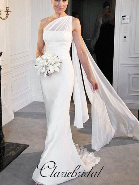One Shoulder Chiffon Mermaid Bridal Gown, Long Wedding Dresses, Wedding Dresses