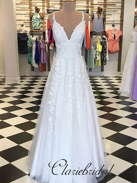 V-neck Lace Tulle Long Wedding Dresses, Prom Dresses