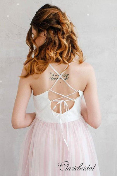 Spaghetti Boho Simple Pale Pink Tulle Wedding Dresses