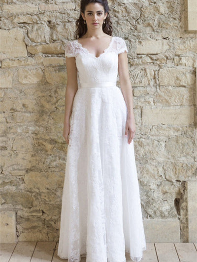V-neck Cap Sleeves A-line Lace Wedding Dresses, Bridal Gown