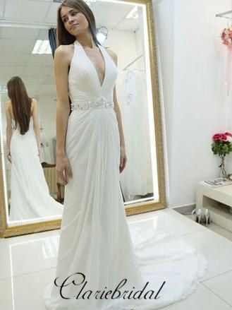 Halter V-neck Long Sheath Simple Elegant Wedding Dresses