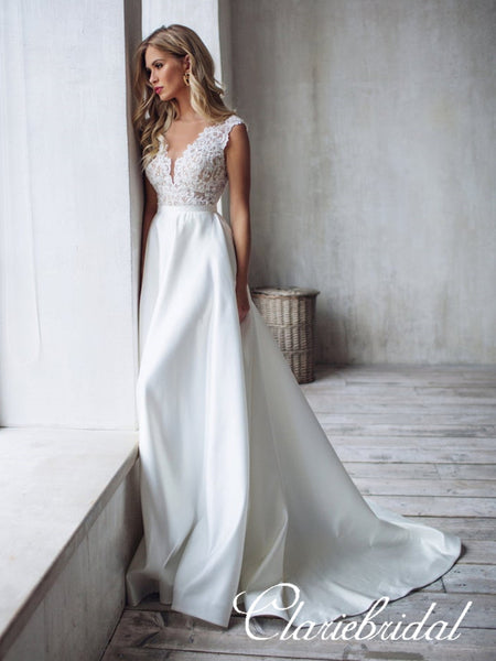 Lace Top Satin Skirt Long A-line Wedding Dresses, Bridal Gown