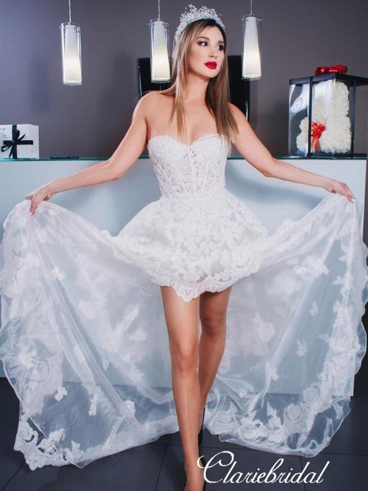 Sweetheart Hi-low Lace Tulle Wedding Dresses