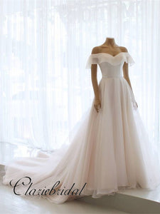 Off Shoulder Simple Chiffon Wedding Dresses, Long Bridal Gown, Wedding Dresses