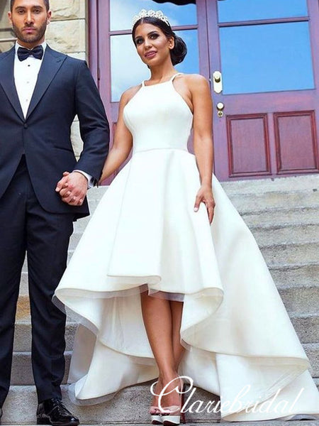 Hi-low Simple Ivory Wedding Dresses, Long Bridal Gown