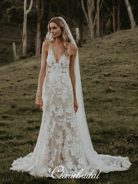 V-neck Lace Long Mermaid Country Wedding Dresses