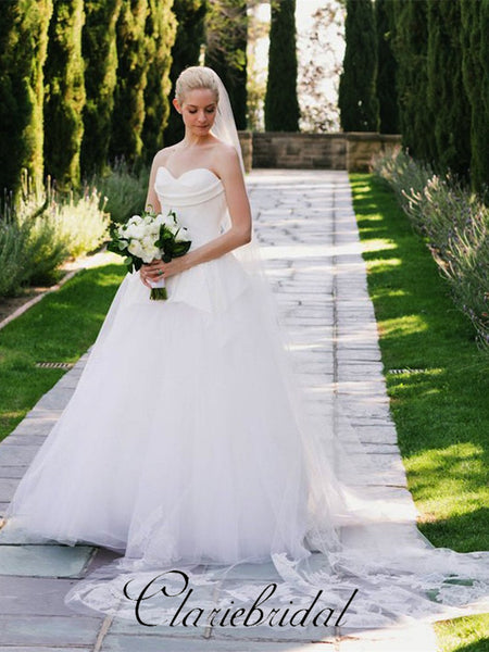 Sweetheart Tulle A-line Fluffy Wedding Dresses, Chic Wedding Dresses