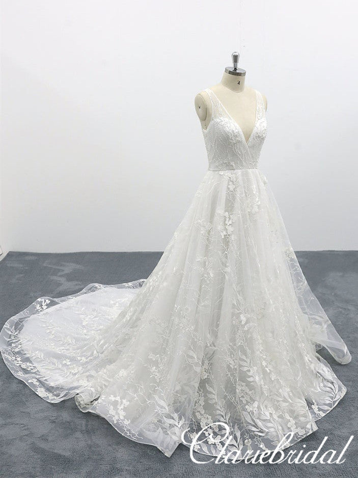 V-neck Sleeveless Lace Tulle Long Wedding Dresses, Bridal Gown