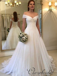 Off Shoulder A-line Simple Tulle Wedding Dresses, Long Wedding Dresses