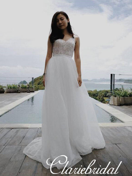 Simple V-neck A-line Beaded Top Tulle Wedding Dresses, Bridal Gown