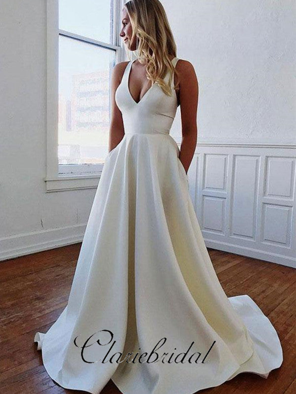 Simple Ivory A-line Wedding Dresses, Elegant Long Wedding Dresses
