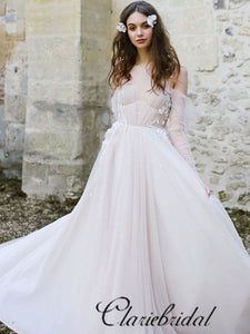 Romantic Long A-line Long Sleeves Boho Wedding Dresses