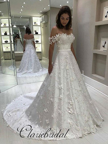 Off Shoulder Lace Satin Wedding Dresses, A-line Wedding Dresses, Bridal Gown