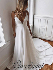 Spaghetti Long A-line V-neck Ivory Chiffon Lace Wedding Dresses, Popular Bridal Gown