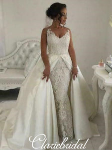 2 Pieces Long Lace Satin Ball Gown Wedding Dresses, Bridal Gown