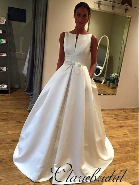Simple Elegant Satin A-line Wedding Dresses With Bow Knot, Bridal Gown