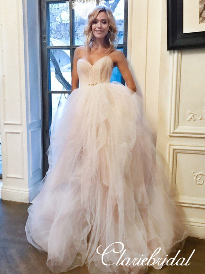 Sweetheart Blush Pink Tulle Fluffy Romantic Long Wedding Dresses