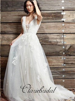 V-neck Ivory Tulle Lace Wedding Dresses, Fluffy Wedding Dresses