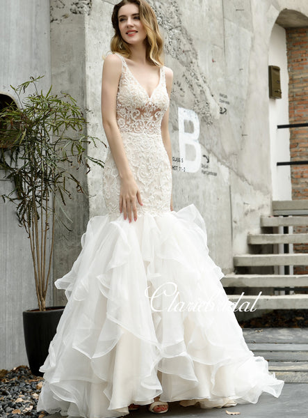 V-neck Long Mermaid Lace Beaded Wedding Dresses, Elegant Long Bridal Gown, Wedding Dresses