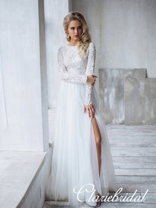 Long Sleeves Lace Top A-line Tulle Side Slit Wedding Dresses