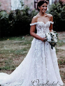 Off Shoulder A-line Slit Lace Country Wedding Dresses, Bridal Gown