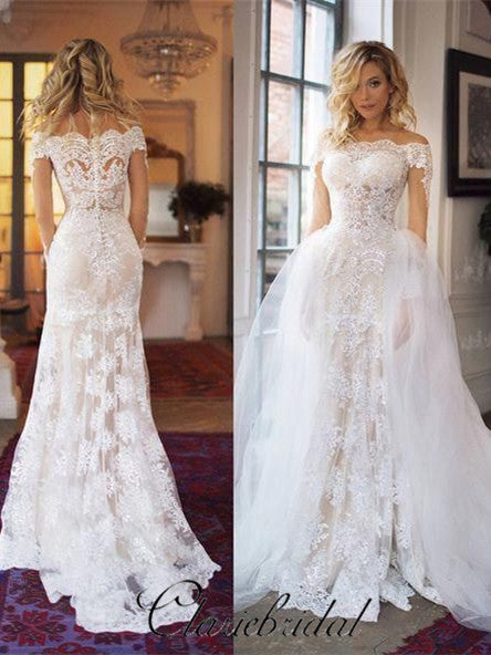 2 Pieces Sheath Lace Tulle Wedding Dresses, Lunury Bridal Gown