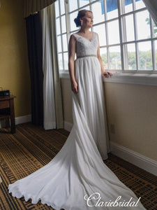 V-neck Lace Top Chiffon A-line Long Train Wedding Dresses