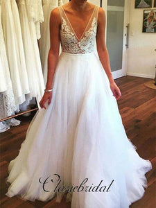V-neck Lace Top A-line Tulle Wedding Dresses, Bridal Gown