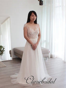 Cap Sleeves A-line Simple Lace Tulle Wedding Dresses