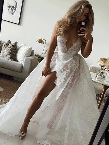 Deep V-neck Lace A-line Wedding Dresses, See Through Sexy Wedding Dresses, Bridal Gowns