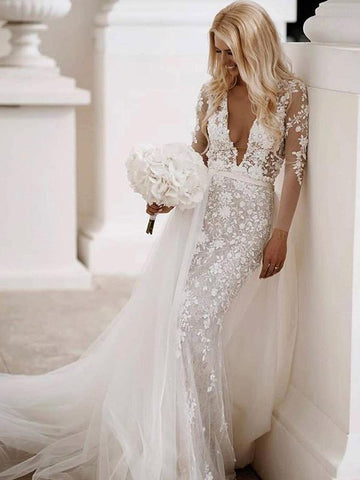 Deep V-neck Long Sleeves Lace Wedding Dresses, Mermaid Appliques Lace Wedding Dresses