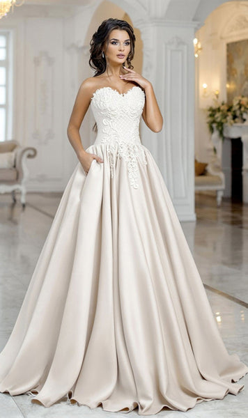 Sweetheart Long A-line Lace Satin Wedding Dresses, Elegant Wedding Dresses, Long Wedding Dresses