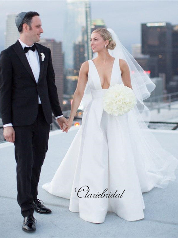 Wide V-neck Sexy A-line White Wedding Dresses with Pockets, Fancy Simple Bridal Gowns