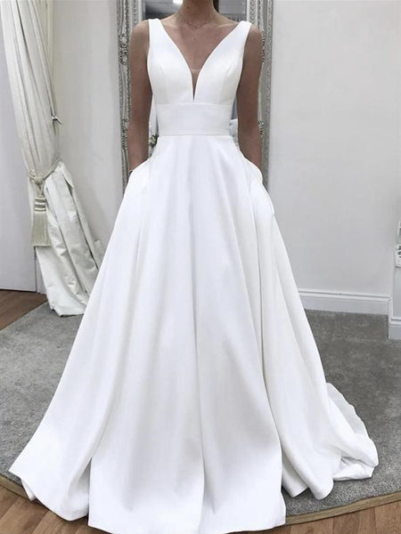 V-neck Long A-line Wedding Dresses, Simple Satin Wedding Dresses, Bridal Gown