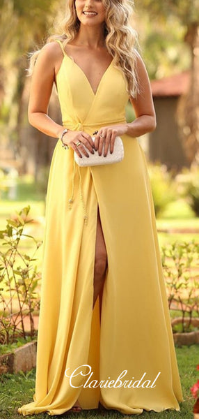 Spaghetti Long Front Slit Yellow Chiffon Bridesmaid Dresses