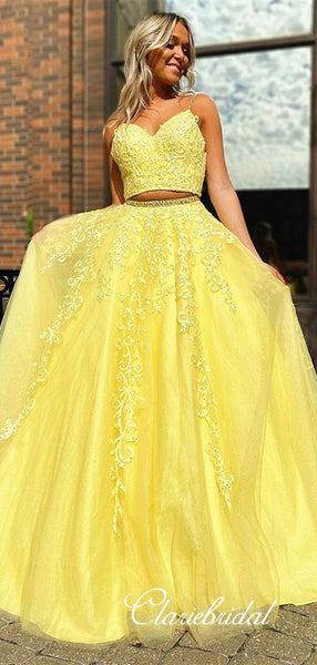 2 Pieces Yellow Lace Beaded Prom Dresses, Tulle Prom Dresses, Long Prom Dresses, Cheap Prom Dresses