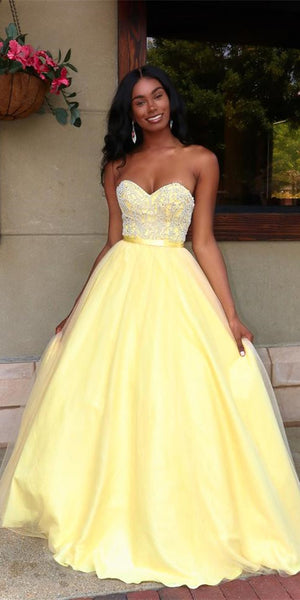 Sweetheart Long A-line Yellow Tulle Beaded Prom Dresses, Lovely Prom Dresses, 2021 Prom Dresses